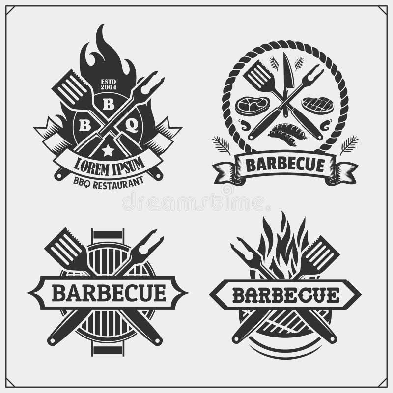 BBQ i grill przylepiamy etykietk? set Grill?w emblematy, odznaki i projekt?w elementy, ilustracja wektor