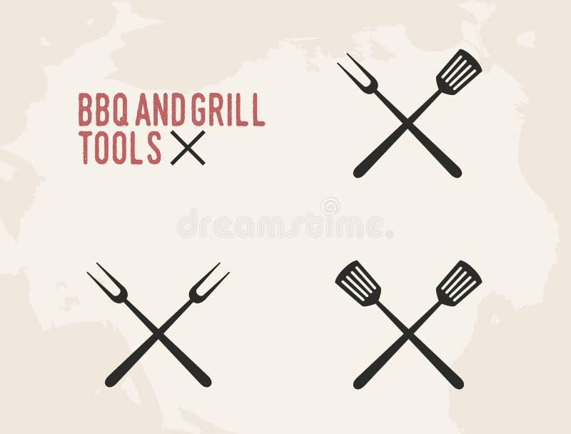 BBQ i grill wytłaczamy wzory set Grill szpachelka i Rocznika projekt również zwrócić corel ilustracji wektora royalty ilustracja