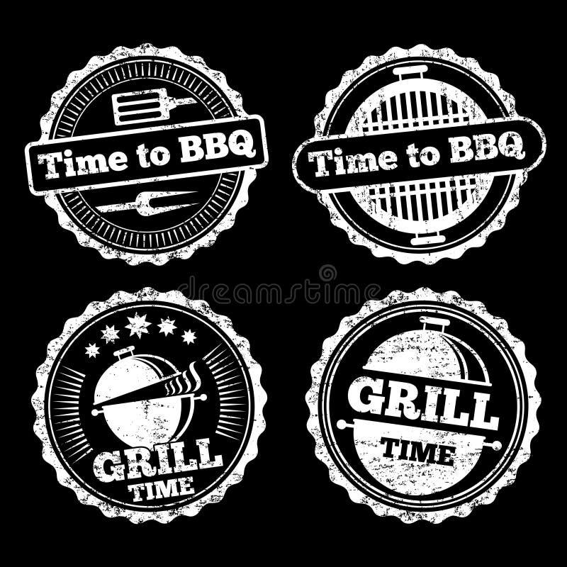 BBQ i grilla czasu grunge etykietek projekt ilustracja wektor