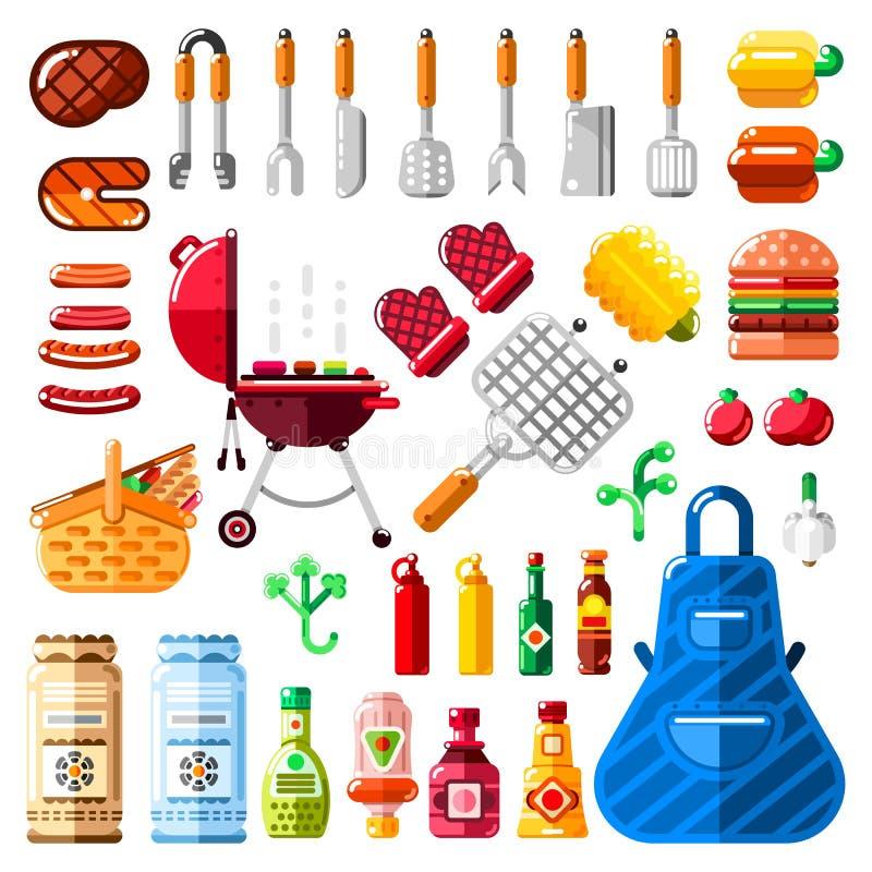 BBQ i grilla ikony ustawiający Wektorowy grilla jedzenie, wyposażenie i narzędzia ilustracyjni, royalty ilustracja