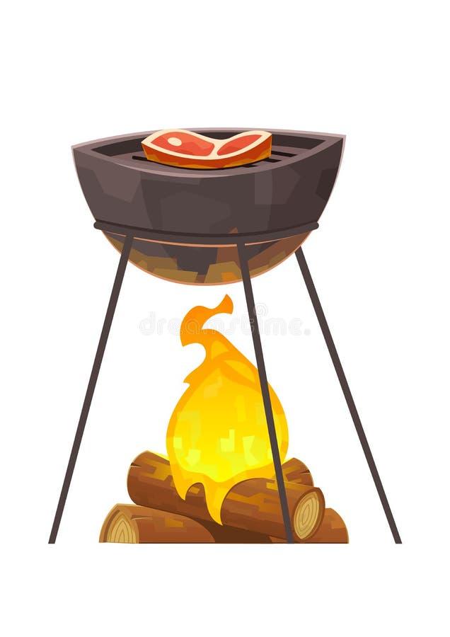 BBQ i grilla ilustracyjny grill z mięsem royalty ilustracja