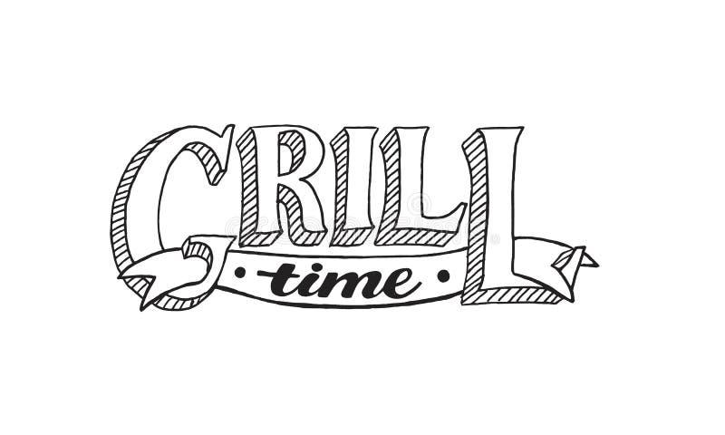 BBQ i grilla literowanie ilustracji