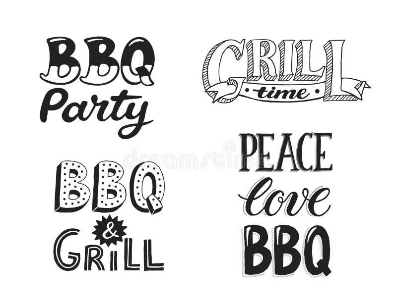 BBQ i grilla literowanie ilustracja wektor