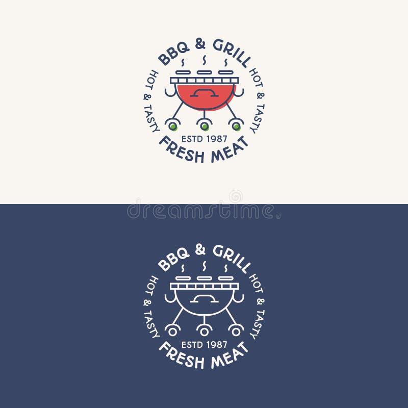 BBQ i grilla loga ustalony kolor i kreskowy styl z szyldowym świeżym mięsem royalty ilustracja