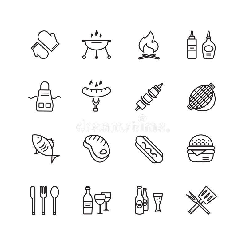 BBQ i jedzenia ikon wektoru set Plenerowy, kuchni, lub ilustracja wektor
