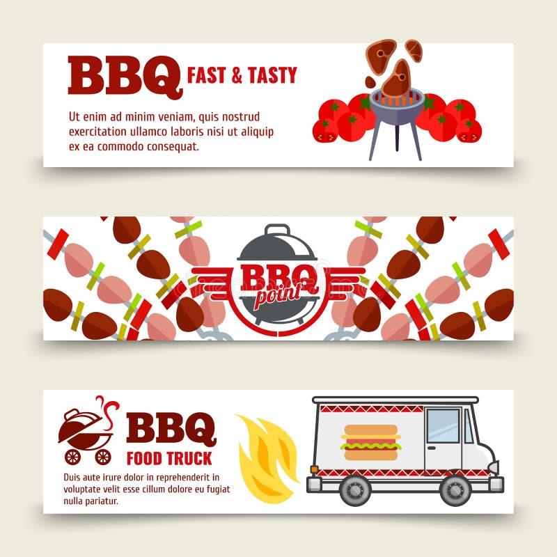 BBQ i stku sztandarów horyzontalny szablon Mięso, grill i karmowa ciężarówka na białym tle, ilustracji