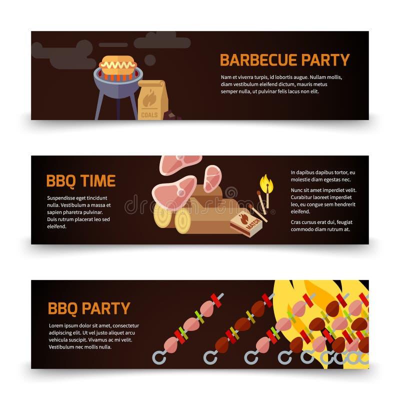 BBQ i stku sztandarów horyzontalny szablon Mięso, węgiel, łupka i grill na czarnym tle, ilustracji