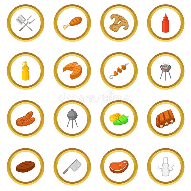 BBQ icons circle. Gold in cartoon style isolate on white background vector illustration stock illustration