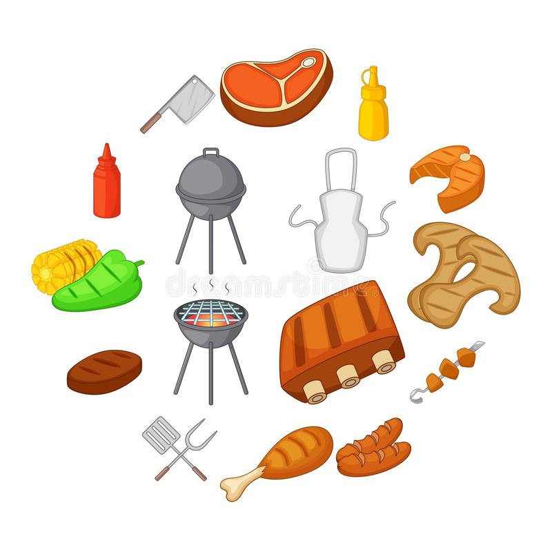 BBQ icons set, cartoon style. BBQ icons set. Cartoon illustration of 16 BBQ items and symbols vector icons for web vector illustration