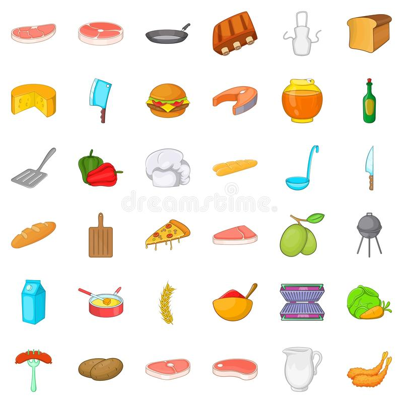 Bbq icons set, cartoon style. Bbq icons set. Cartoon style of 36 bbq vector icons for web isolated on white background royalty free illustration