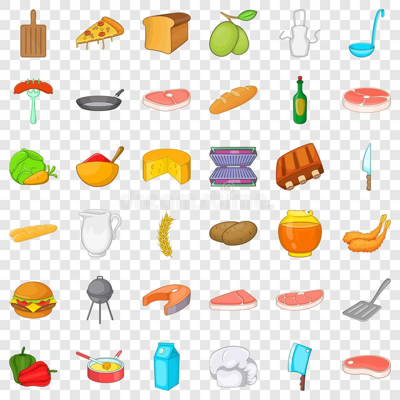 Bbq icons set, cartoon style. Bbq icons set. Cartoon style of 36 bbq vector icons for web for any design stock illustration