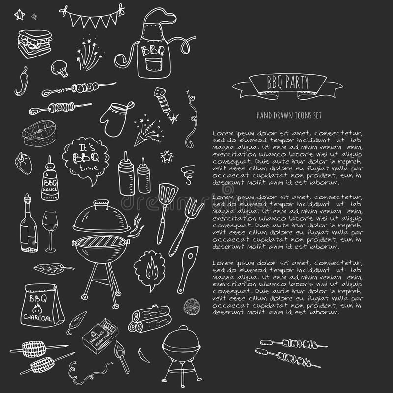BBQ icons set. Hand drawn doodle BBQ party icons set. Vector illustration summer barbecue symbols collection Cartoon various meals Drink Ingredients and vector illustration