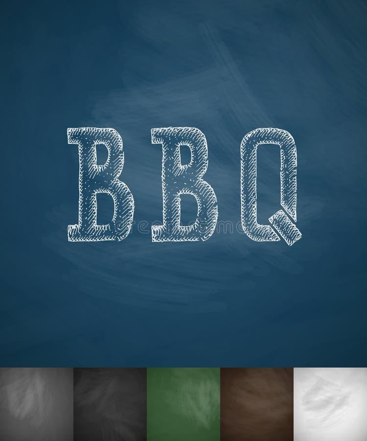 Bbq ikona Ręka rysująca wektorowa ilustracja ilustracji