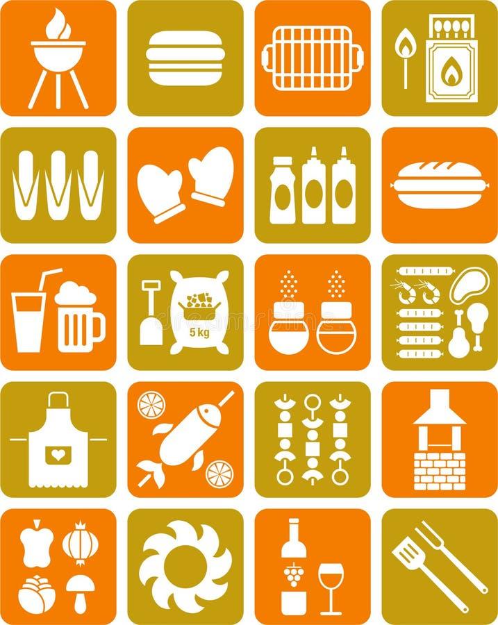 BBQ ikony ilustracja wektor