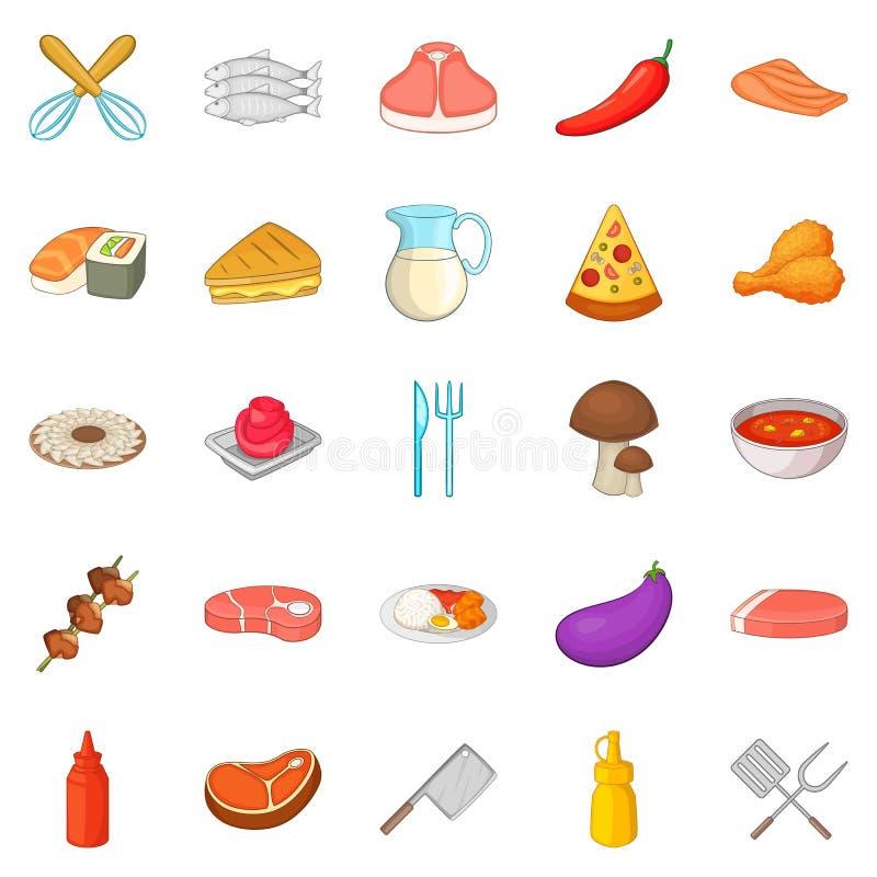 BBQ ikony ustawiać, kreskówka styl ilustracji