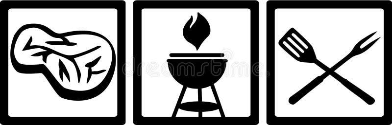 BBQ ikony z mięsem i grillem ilustracja wektor