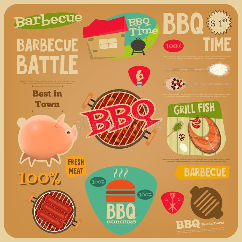 BBQ karta royalty ilustracja