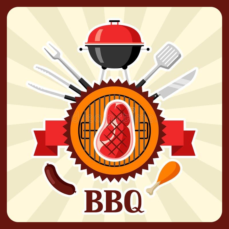 Bbq karta z grill ikonami i przedmiotami ilustracja wektor