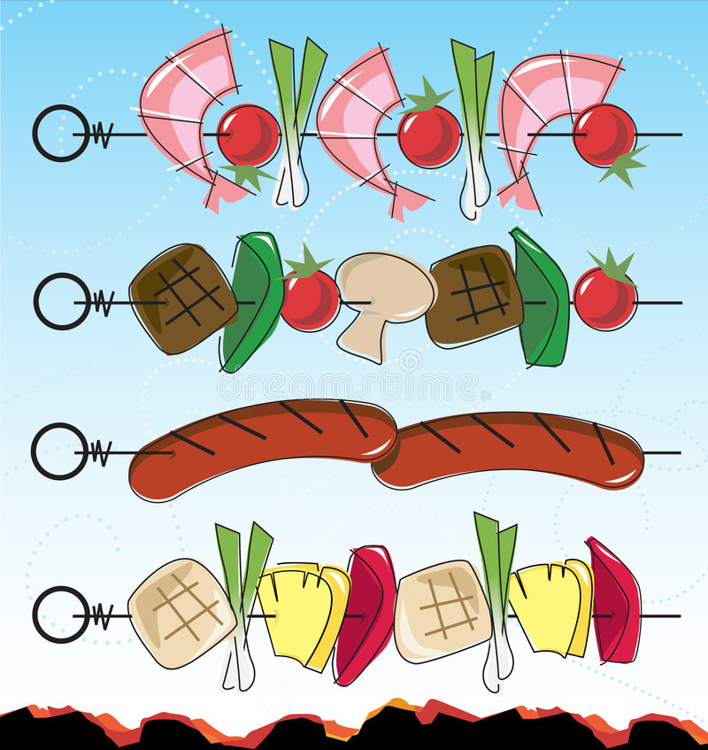 BBQ Kebabs do Retro-estilo ilustração do vetor
