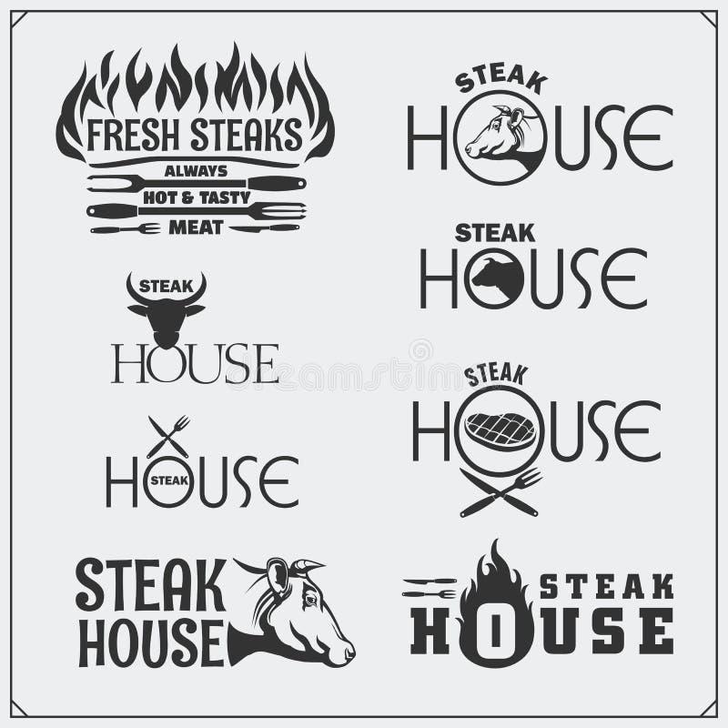 BBQ kolekcja Set etykietki, odznaki i emblematy rocznika grilla stku, royalty ilustracja