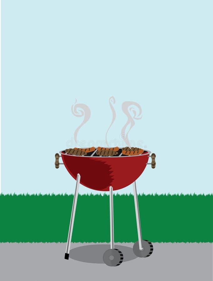 bbq kucharstwo zakrywający grilla hotdogs zakrywać ilustracja wektor