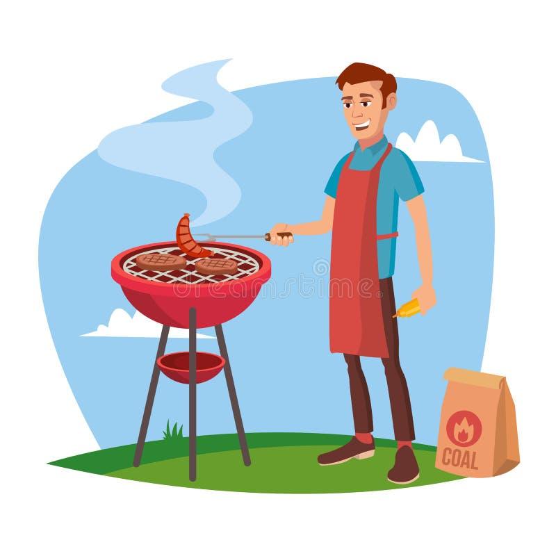 BBQ Kulinarny wektor Klasyczny Amerykański Uśmiechnięty mężczyzna Barbecuing Na Białej postać z kreskówki ilustraci ilustracja wektor