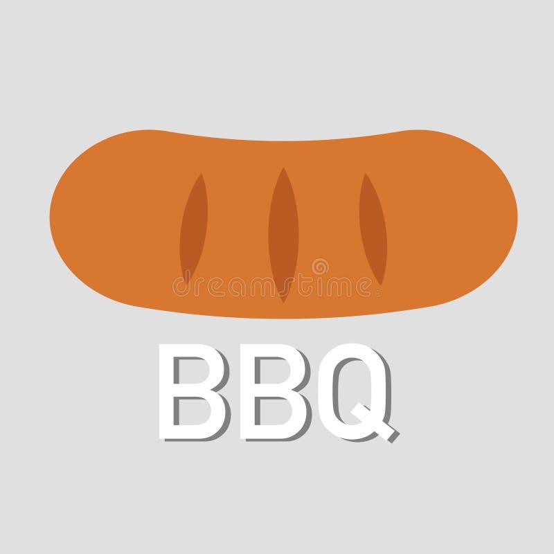 Bbq laat grill wat worst grijze achtergrond vector illustratie