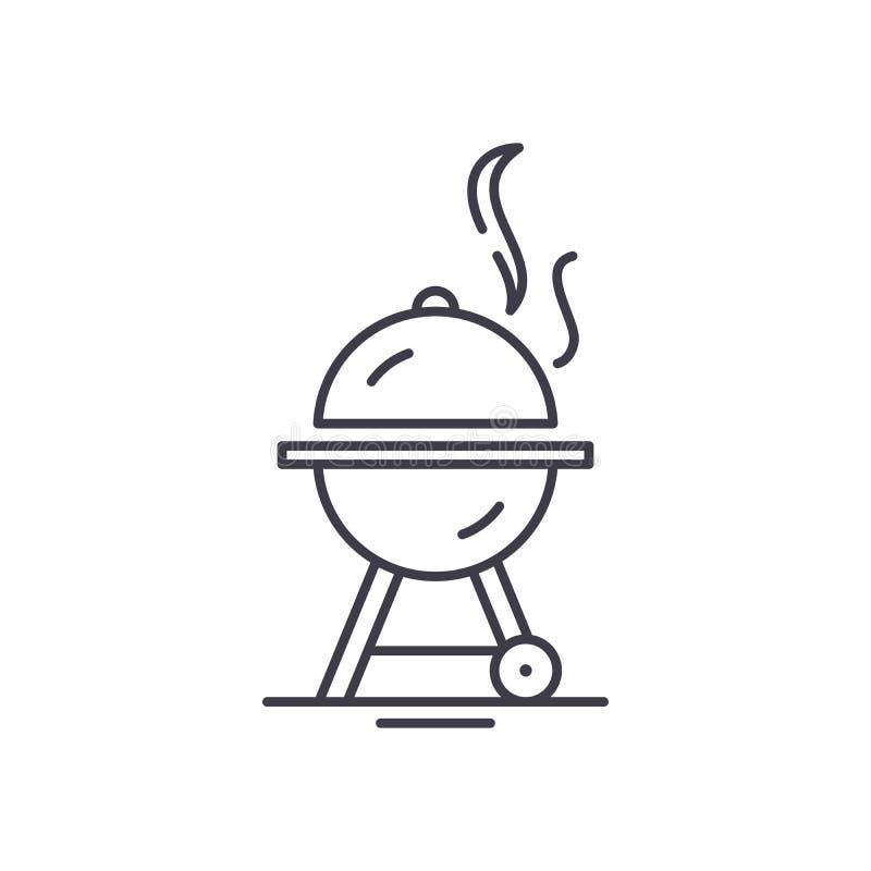 Bbq line icon concept. Bbq vector linear illustration, symbol, sign royalty free illustration