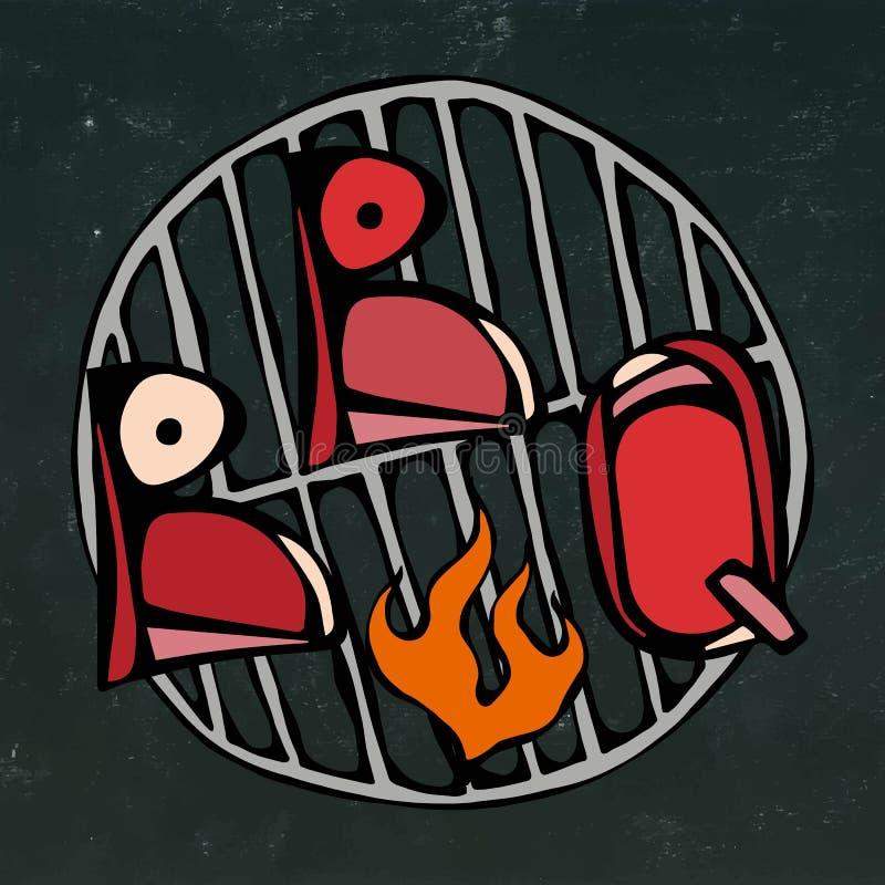 BBQ literowanie na grillu z ogieniem Grilla stku logo Na Czarnym Chalkboard tle Realistyczny Doodle royalty ilustracja