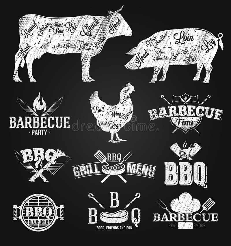 BBQ logów i emblematów kredowy rysunek ilustracji