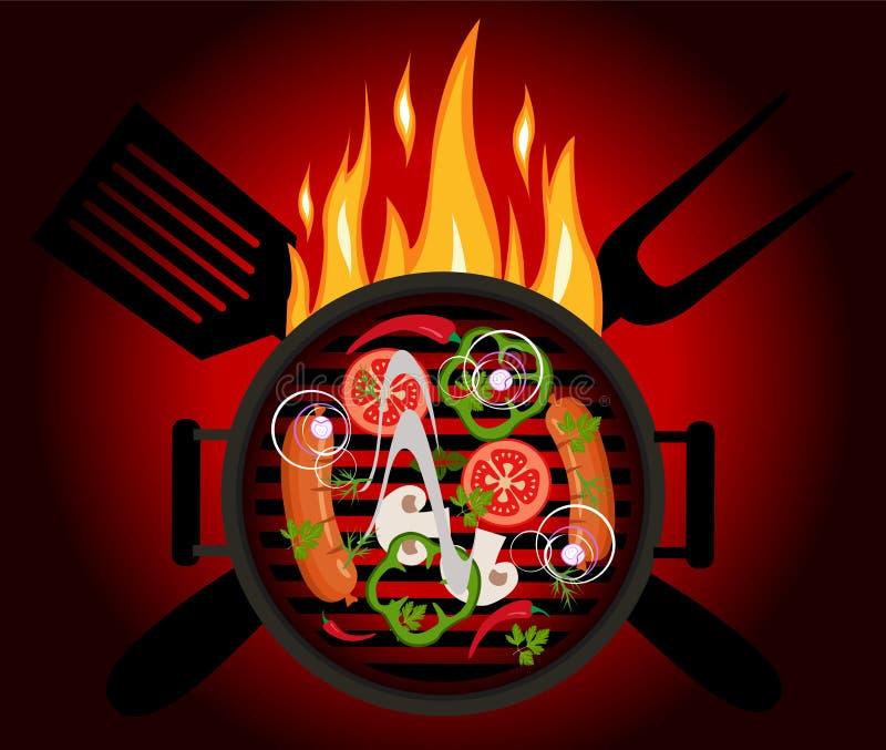 Bbq-Logo auf einem roten Hintergrund lizenzfreie abbildung