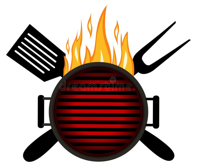 Bbq-logo Desig för mall för grillfestmenylogo royaltyfri illustrationer