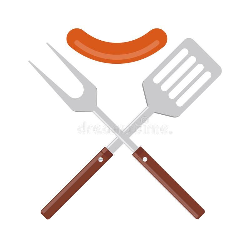 BBQ lub grilla narzędzi ikona Krzyżująca grill szpachelka z kiełbasą i rozwidlenie ilustracji
