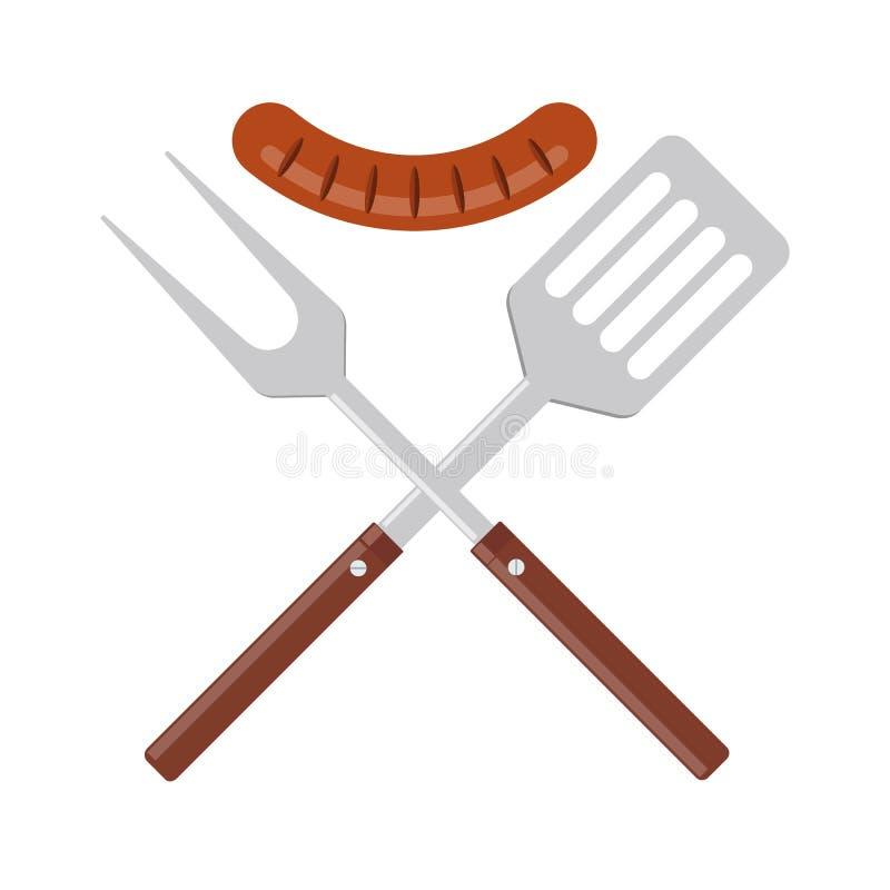 BBQ lub grilla narzędzi ikona Krzyżująca grill szpachelka z piec na grillu kiełbasą i rozwidlenie royalty ilustracja
