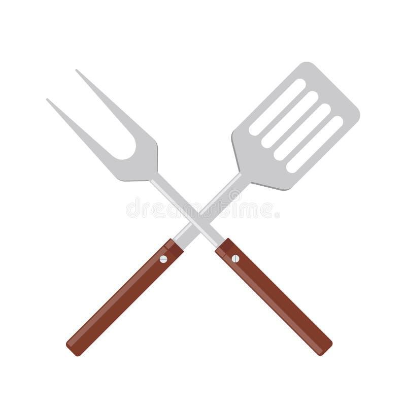 BBQ lub grilla narzędzi ikona Krzyżujący grilla rozwidlenie z szpachelką royalty ilustracja