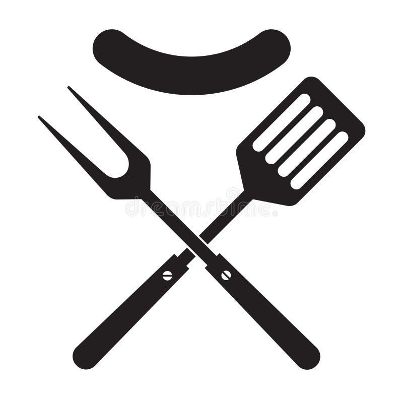 BBQ lub grilla narz?dzi ikona Krzy?uj?ca grill szpachelka z kie?bas? i rozwidlenie ilustracji