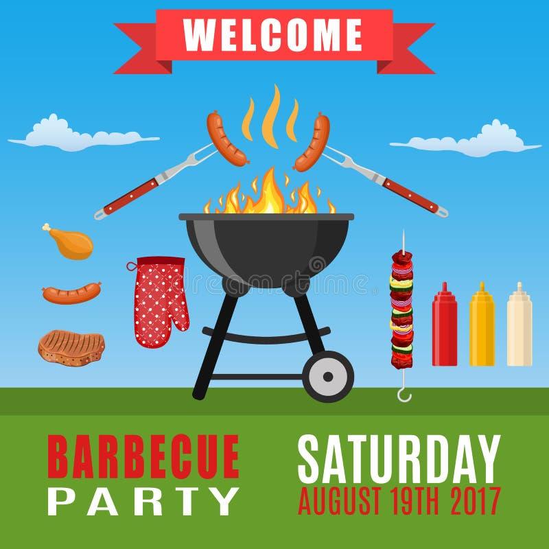 Bbq lub grilla partyjny zaproszenie ilustracja wektor