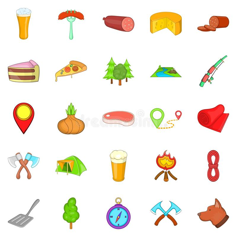 BBQ lunch icons set, cartoon style. BBQ lunch icons set. Cartoon set of 25 BBQ lunch vector icons for web isolated on white background stock illustration