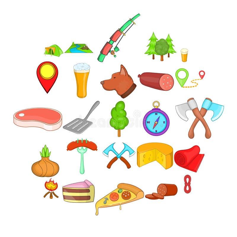 BBQ lunchu ikony ustawiać, kreskówka styl ilustracji
