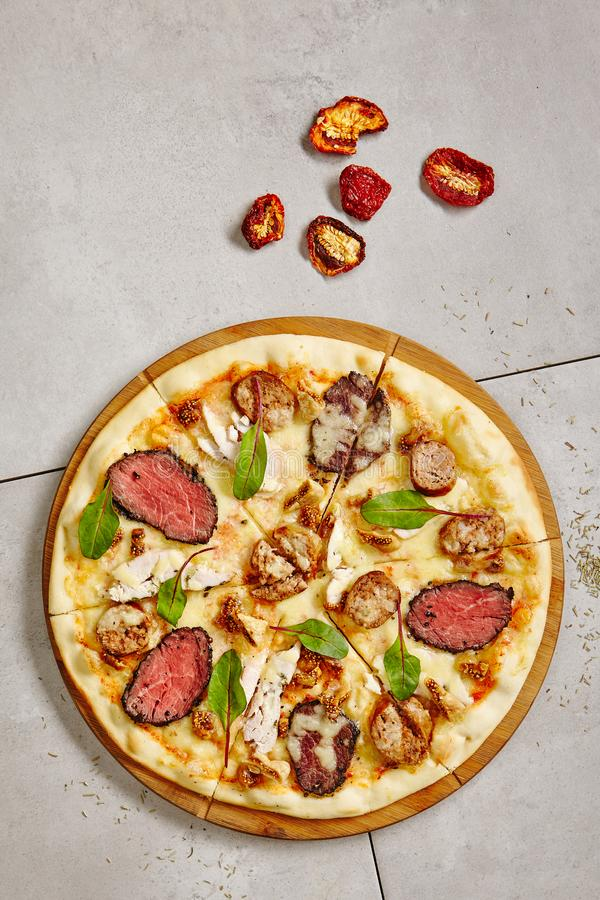 Bbq Meat Pizza with Beef, Pork, Lamb, Figs stock image