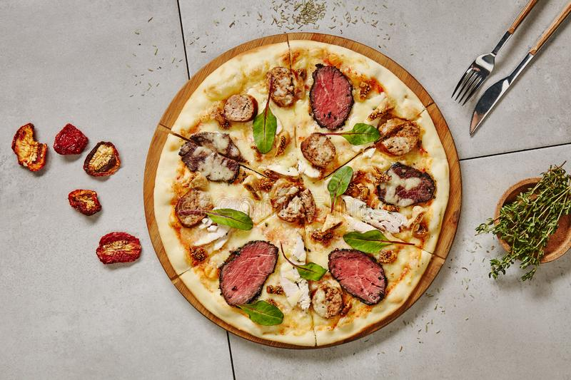 Bbq Meat Pizza royalty free stock photography