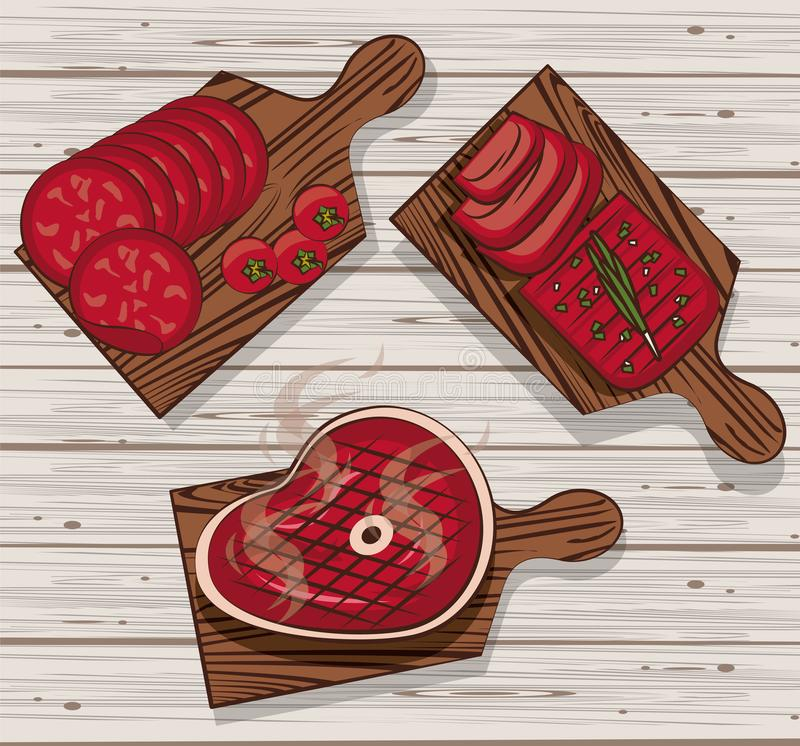 BBQ meat on tables. BBQ meat on cut tables with meats vector illustration graphic design royalty free illustration