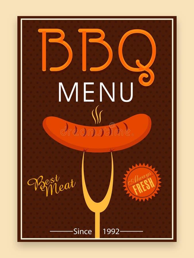 Bbq menu karta, szablon lub ulotka projekt, royalty ilustracja