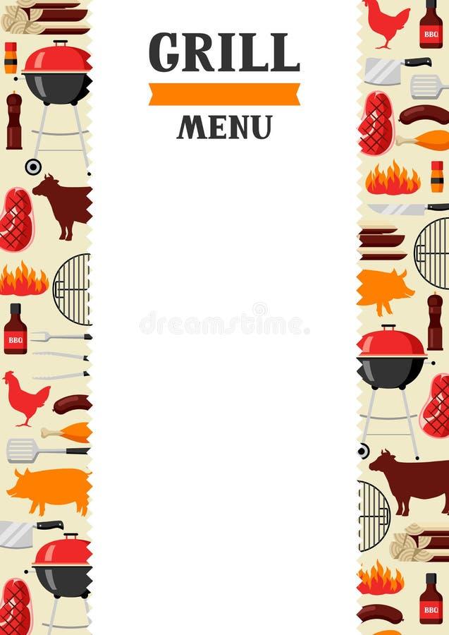 Bbq menu tło z grill ikonami i przedmiotami ilustracji