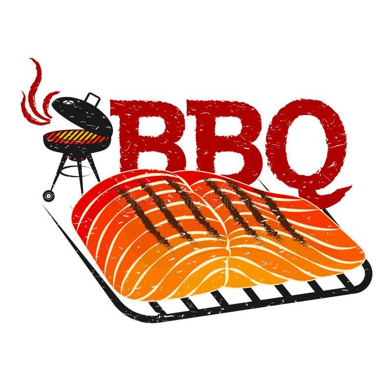 BBQ mięsa ryby projekt royalty ilustracja
