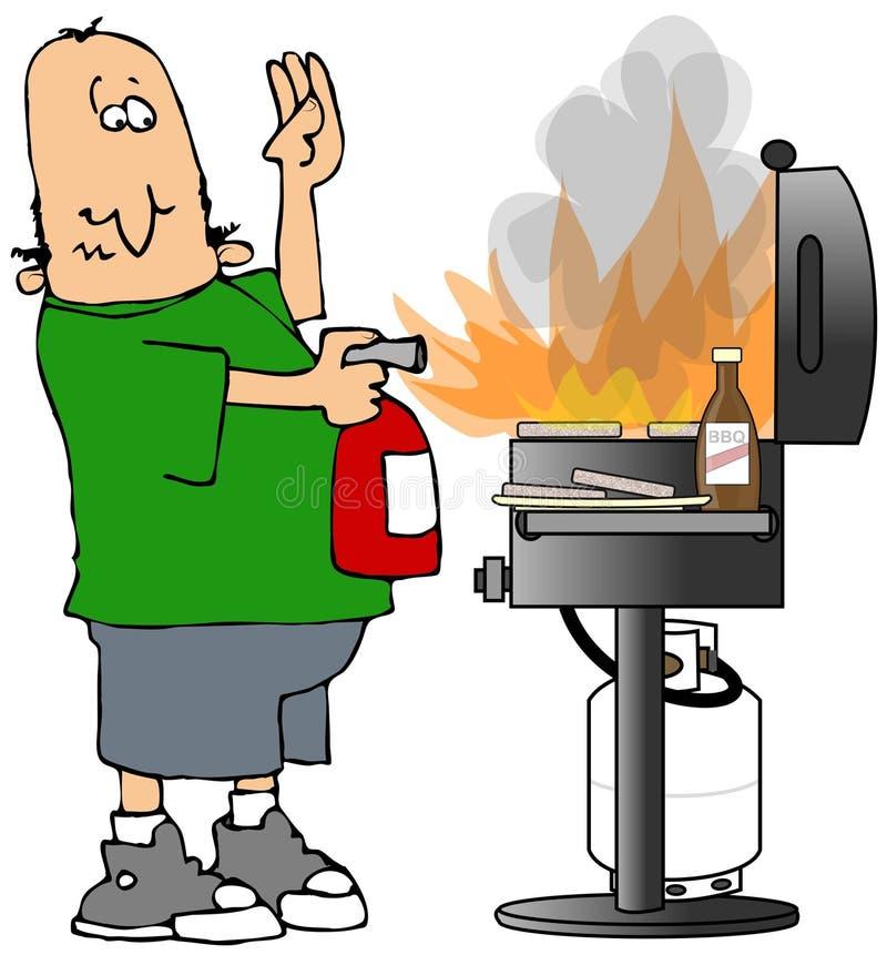 BBQ no incêndio ilustração royalty free