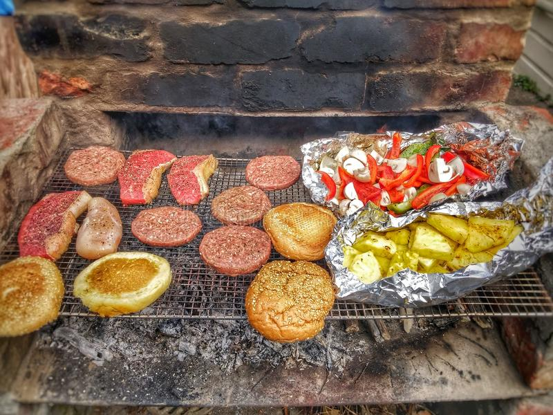 BBQ o a fire pit royalty free stock images