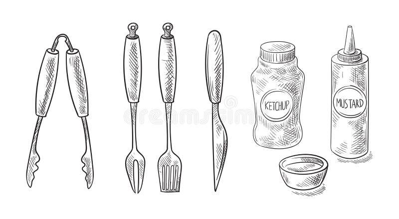 Bbq- och gallerhjälpmedel som isoleras på vit bakgrund royaltyfri illustrationer