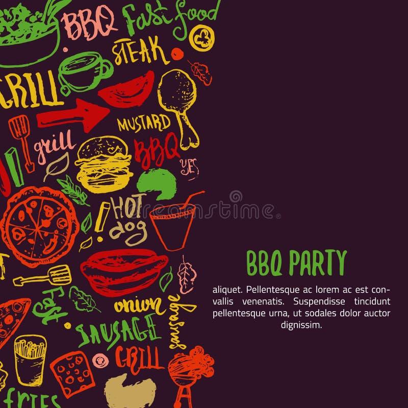 BBQ otwarcia przyjęcia zawiadomienie Doodle pociągany ręcznie plakat z grillów akcesoriami, pisze list wektorową ilustrację dalej ilustracja wektor