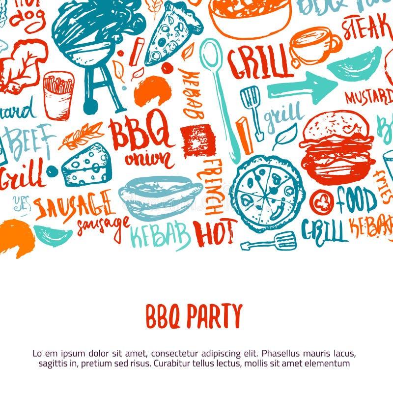 BBQ otwarcia przyjęcia zawiadomienie Doodle pociągany ręcznie plakat z grillów akcesoriami, pisze list wektorową ilustrację dalej royalty ilustracja